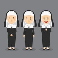 monja de carácter católico con varias expresiones. vector