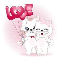 pareja gato y globos de corazón