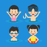 Kids Having Fun Swimming Sea vector