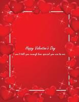 Happy Valentine's Day postcard with mini heart red color. vector
