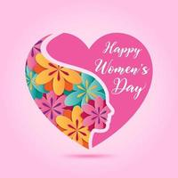 March 8, Women's day design element with colorful flower on pink heart. vector