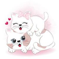 Couple cat and heart valentine's day concept vector
