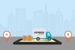 Express delivery concept. Checking delivery service app on mobile phone. Delivery truck with cardboard boxes on mobile phone and city background. vector