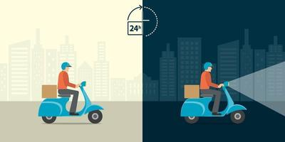 Delivery 24 hour concept. Delivery man ride scooter motorcycle service with all day all night background. Fast and free worldwide shipping. vector