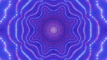 Resumo de pontos de néon túnel ilustração 3d dj visual