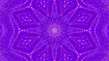 ilustração 3D do caleidoscópio da estrela rosa e azul vj loop video