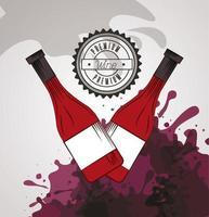 cartel de vino con botellas vector