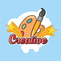 creative lettering with paint brush and color palette vector