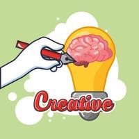 Brain organ with creative light bulb vector