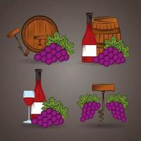 Wine icon set with barrels and grapes vector