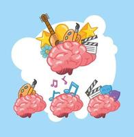 Set of brain organ with creative icons vector