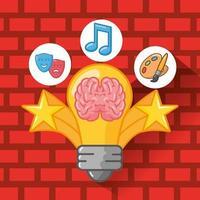 Brain organ with light bulb vector