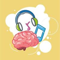 creative brain organ with music icons vector