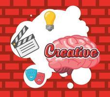 Brain organ with creative icons vector