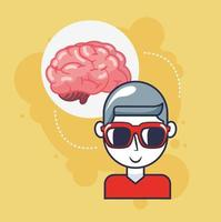 Young man with brain organ vector