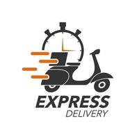 Express delivery icon concept. Scooter motorcycle with stop watch icon for service, order, fast, free and worldwide shipping. Modern design. vector