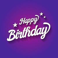 Happy Birthday typographic on violet background. Design for poster, banner, graphic template, birthday card, greeting or invitation card.