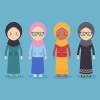 Stock Vector Muslim Women Set