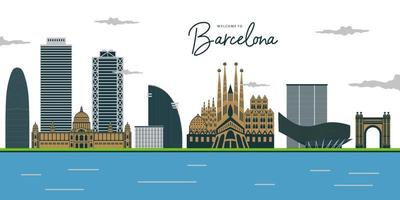 View of Barcelona. Plaza de Espana, Park Gell, Columbus monument, fountain and Venetian towers, and National museum. vector