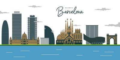 vista de barcelona. plaza de españa, parque gell, monumento a colón, fuente y torres venecianas y museo nacional. vector