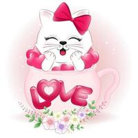 Cute cat and hearts in cup vector