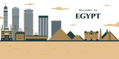 Futuristic view of the pyramids and the city. Landscape panoramic of Egyptian pharaohs pyramids with mosque. vector