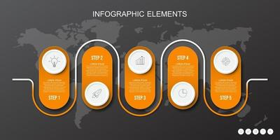 Orange infographics elements. Concept of business model with 5 successive steps vector