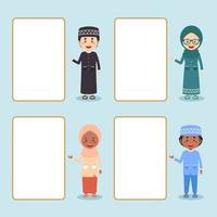 Muslim Kids Standing Beside Empty Board Cartoon Set vector