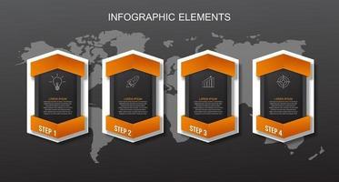 Plantilla de elementos de infografía naranja. concepto de negocio con 4 pasos vector