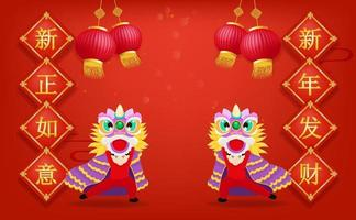 Happy Chinese new year with Chinese lion dancing and lantern on red background Chinese translation is New wishful wishes and a fortune in the new year