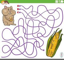 educational maze game with cartoon hamster and corn cob vector
