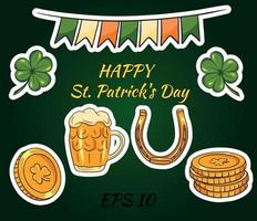 Happy St. Patricks Day background with Irish icons and symbols of the holiday. Vector images.