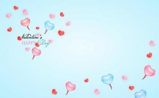 Love and Valentine's Day balloon Postcard label and mini heart and balloon of heart pink and blue color of vector. vector