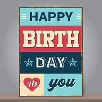 Vintage Happy Birthday with grunge and rusty background. Design template for poster, flyer, banner, greeting or invitation card. Retro style. vector