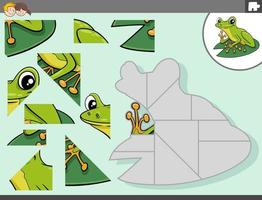 jigsaw puzzle game with green frog animal character vector