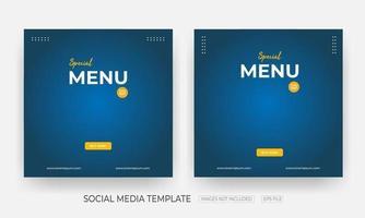 Set Of Food social media banner post template vector