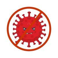 stock vector señal de prohibición de bacteria enojada