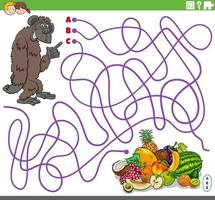 educational maze game with cartoon gorilla and fruits vector