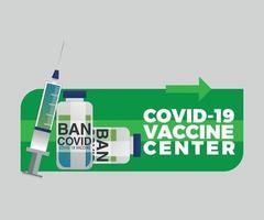 vector de etiqueta del centro de vacunas covid 19