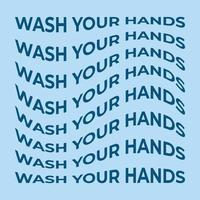Wash Your Hands wave text vector illustration abstract shape. Graphic vector element with warp effect for your design