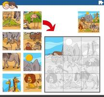 jigsaw puzzle game with wild comic animal characters vector