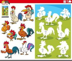 matching shapes game with cartoon rooster characters vector