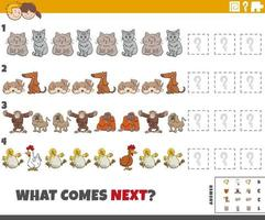 educational pattern game for kids with cartoon animals vector