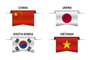 Set of four Chinese, Japanese, Korean and Vietnamese ribbons. Made in China, Made in Japan, Made in South Korea and Made in Vietnam sticker and labels. Vector simple icons with flags