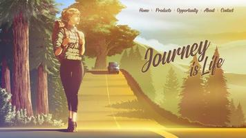 vector illustration of landing page of female backpacker traveling alone and walking on the road