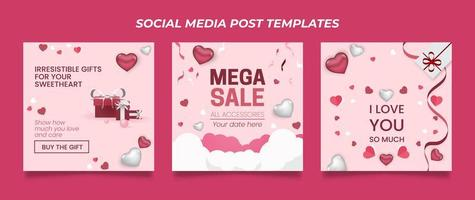 Valentine's day promo square banner seasonal offer templates. vector