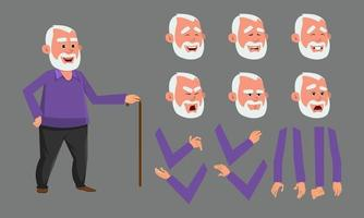 Old man character with various facial emotions. character for custom animation. custom character set for design, motion or animation. vector