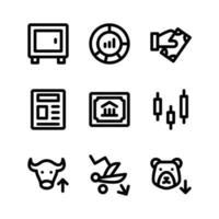 conjunto simple de iconos de glifos vectoriales relacionados con la bolsa de valores. contiene iconos como depósito, gráfico circular, pago, periódico, mercado alcista y más. vector