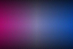 Abstract blue and purple neon geometric hexagonal mesh material background. Perforated metallic technology wallpaper. Vector abstract widescreen background