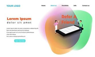 Refer a friend landing page illustration with tiny people character, landing page, web template